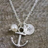Delicate Nautical Anchor, Pearl, and Initial Necklace on a Sterling Silver Plated Chain