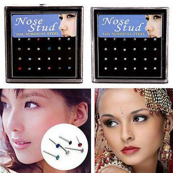 24Pcs/pack Nose Ring Body Jewelry Nose Stud ring  Stainless Surgical Steel Nose Piercing nez Crystal Stud ring for women gift