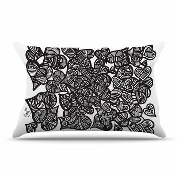 "Adriana De Leon ""Hidden Hearts"" Black White Pillow Sham"