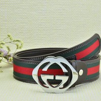 Cheap GUCCI Woman Men Fashion Smooth Buckle Belt Leather Belt for sale q_2291738334_028