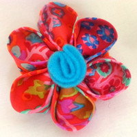 Fabric flower hair clip - Kanzashi flower - Flower hair accessory - Girl's hair accessory - Child's hair accessory - Gift for girl -