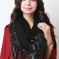 Fine Knit Vegan Leather Fringe Infinity Scarf