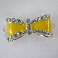 1PC - Bow Connector -  Yellow Enamel on Silver Toned Metal with Rhinestones - 35x15mm