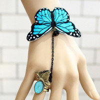 Woman Vintage Retro Gothic Lolita Elegant Butterfly Lace Beads Dance Bracelet Ring A3 on Luulla