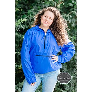 Monogrammmed Charles River Pack N Go Pullover - Royal Blue