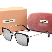 Miu Miu Popular Women Cute Sun Shades Eyeglasses Glasses Sunglasses Grey/Black Frame I12777-1