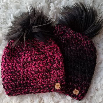 Queen of Hearts Faux Fur Pom Hat