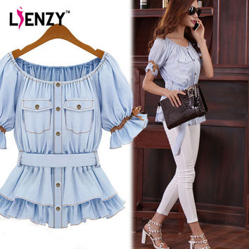 LEIZNY Summer 2016 Faux Womens' Denim Shirt Women Butterfly Sashes Blouse Ruffles Women Clothes Sale Ruffle Tops Cheap Blouse