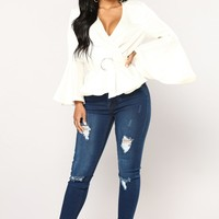 Veronika Peplum Top - Ivory