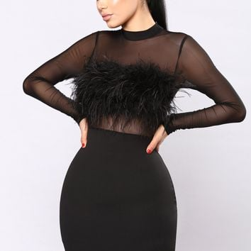 Secret Diary Fuzzy Dress - Black