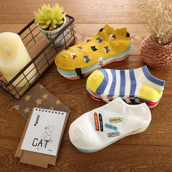 women  cotton socks summer cute candy color boat socks ankle socks for woman thin sock slippers ws89