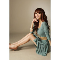 Green Long Sleeve Button Up Dress