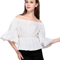 White Off Shoulder Ruffled Blouse