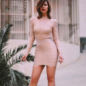 Apricot Long Sleeve Sexy Night Out Dress Women Bodycon