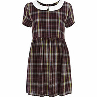 Purple Chelsea Girl check tea dress