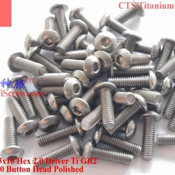 Titanium screw M3X10 ISO 7380 Button Head  Hex 2.0 Driver Ti GR2 Polished 50 pcs