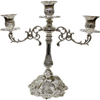 """Ultimate Judaica Silver Plated Candelabra 3 Branch - 12""""H"""
