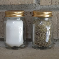 Pair of Clear Glass Mason Jar Style Salt and Pepper Shakers