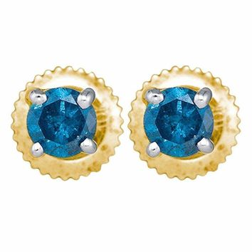 10kt Yellow Gold Women's Round Blue Color Enhanced Diamond Solitaire Stud Earrings 1-4 Cttw - FREE Shipping (USA/CAN)