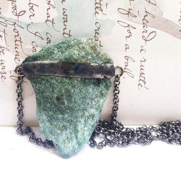 Fuchsite Crystal Necklace, Green Crystal Necklace, Rough Cut Crystal Jewelry, Raw Crystal Pendant, Green Fuchsite Crystal Stone Necklace