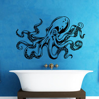 Octopus Wall Decal Tentacles Sprut Kraken Ocean Sea Animal Wall Decals Vinyl Sticker Interior Home Decor Vinyl Art Wall Decor Bedroom SV5829