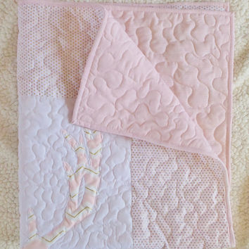 Blush pink and gold baby girl crib quilt or blanket - Woodland animal deer bedding - Ready to ship measures 36x41