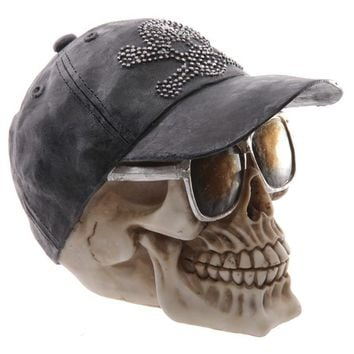 Skull Skulls Halloween Fall 1Piece Gruesome  Decoration Gothic Pirates  Wearing Baseball Cap  & Sunglasses Calavera