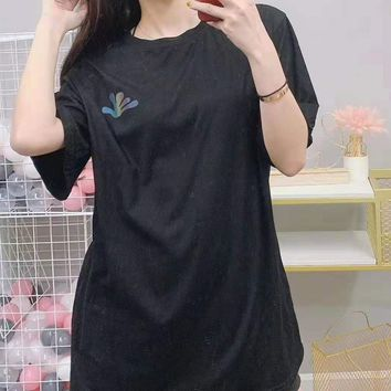 Woman Casual Fashion Letter Luminous Printing Loose Large Size Short Sleeve T-Shirt Tops