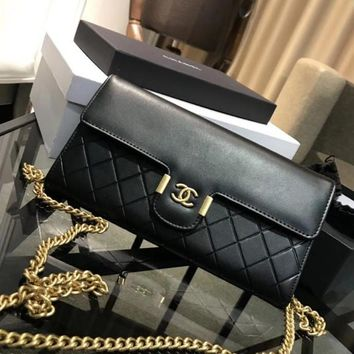 CHANEL Trending Women Stylish Shopping Bag Leather Metal Chain Crossbody Satchel Buckle Shoulder Bag Black I-WXZ2H