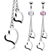 """Stainless Steel CZ Navel Belly Button Ring with Two Heart Chain Dangle - 14 GA 3/8"""" Long (Sold Ind.)"""