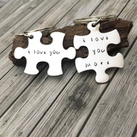I love you more Keychains, Anniversary Gift, Romantic Gift, puzzle piece keychains, Boyfriend Girlfriend Gift, Husband Wife