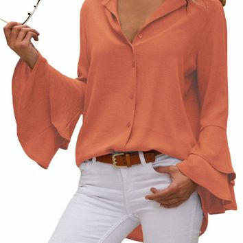 Orange Layered Bell Sleeve Button Down Shirt