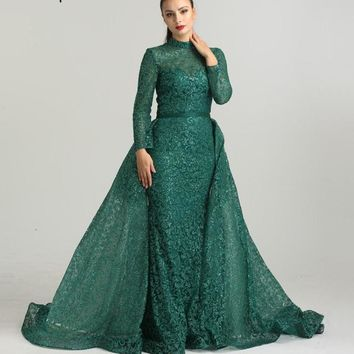Fashion Mermaid Luxury  Glitter Wine Red Evening Dress Long Sleeves  Gliter  with train Evening Gowns 2018 Serene Hill LA6326