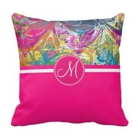 Pink Monogram Beautiful Abstract Flourish Swirls