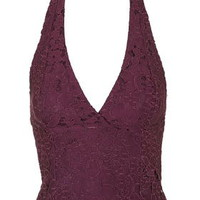 Lace Halterneck Top - Mulberry