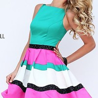 Fit and Flare Striped Sherri Hill Short Prom Dress