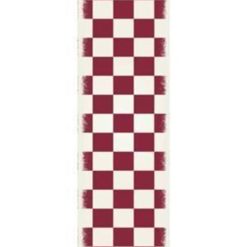 English Checker Design  Size Rug: 2ft x 6ft red & white colors with a weather aged finish super durable and multilayer technical grade vinyl rug.