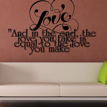 Vinyl Wall Decal Sticker Love Equal Phrase #5381