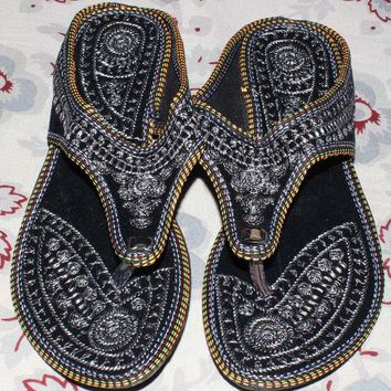 DCCK7BE Rajasthani !! Embroidered Heel Wedges Ethnic Fashion Woman Sandal, Slippers US 9