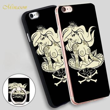Minason Little Mermaid Princess Mobile Phone Shell Soft TPU Silicone Case Cover for iPhone X 8 5 SE 5S 6 6S 7 Plus
