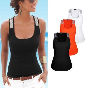 Women Sequin Sleeveless Blouse Casual Vest Top Tank Shirt