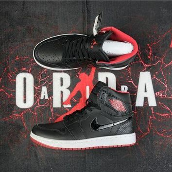 PEAPON3A VAWA Men's Air Jordan 1 Retro High Leather GS 555088-113 Basketball Shoes Black Red