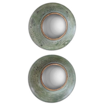Forbell Aged Round Mirror (Set of 2)