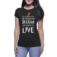 Live Quote Tshirt for Women Black and White