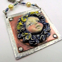 Mixed Metal Ceramic Necklace - Metalwork riveted with cold connections - one of a kind Hand Stamped Jewelry