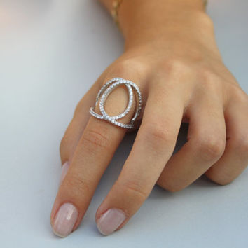 Cross Loops Ring / Looped Ring / Connected Ring / Looped Silver Knuckle Ring / 14K Gold Filled Ring /Pave Ring / Midi Ring