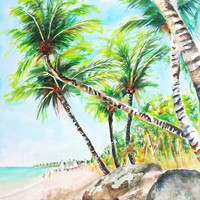 Tropical Beach Painting, Coconut Palm Trees, Large Original Watercolor Landscape, 12x16, Travel Wall Art, Ocean Art