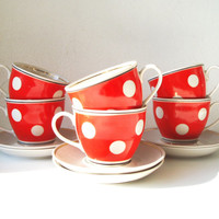 Fine China Tea Cups and Saucers, Porcelain Service, Red Dotted Tableware, Polka Dot Coffee Cups, Set of 12  Soviet Russian