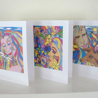 Pop Art Hippie Cards Nature Girls Flower Power Colorful Card Set of 6