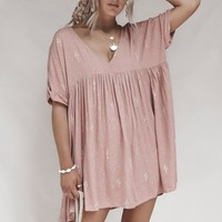 Blushing on You Muave Boho V-neck Mini Dress